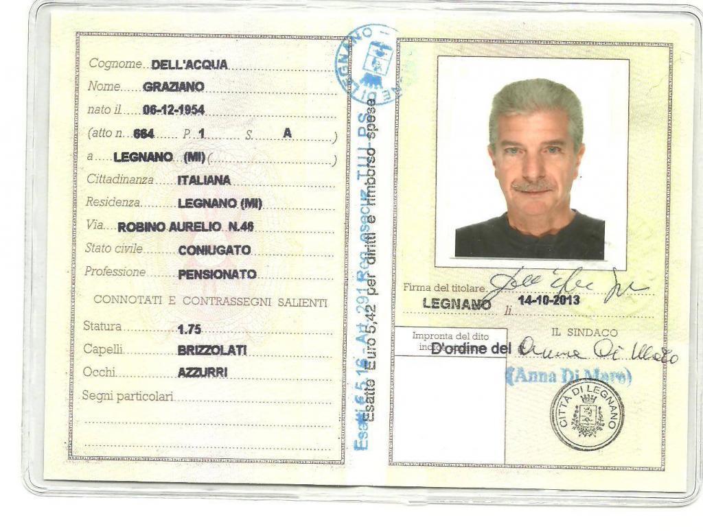 Parte interna da Carta d'Identità